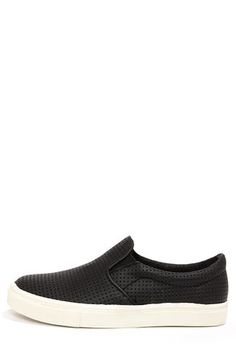 2f828f34086 Steve Madden Perfie Black Slip-On Perforated Sneakers