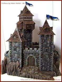icu ~ Tabletop-World-Concurso-Ganadores-Winners-warhammer-Scenery- Fortress-guard-tower-fortaleza-torre-guardia Model Castle, Toy Castle, Castle Gate, Fantasy Castle, Fantasy House, Medieval Houses, Medieval Town, Chateau Fort Jouet, Castle Project