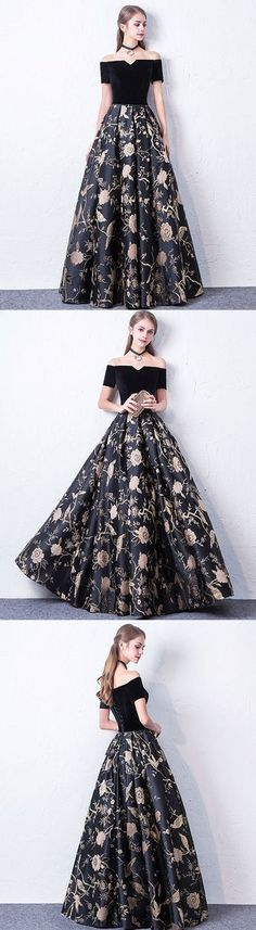Black off shoulder long prom dress, black evening dress