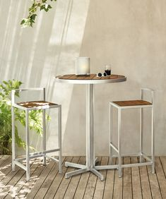 Montego Bar Height Table and Stools - Modern Outdoor Furniture - Room & Board Modern Outdoor Dining Sets, Contemporary Outdoor Furniture, Outdoor Furniture Chairs, Outdoor Tables And Chairs, Dining Furniture, Outdoor Spaces, Bar Height Table, Modern Bar Stools, Board