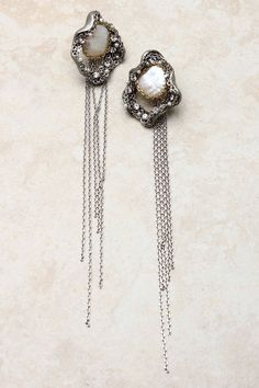 Silver Evelyn Pearl Earrings   Emma Stine
