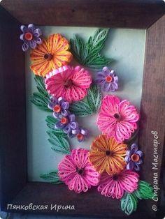 Поделка изделие Квиллинг телега с розами и горшки с цветами Бумага Бумажные полосы Клей Краска фото 6