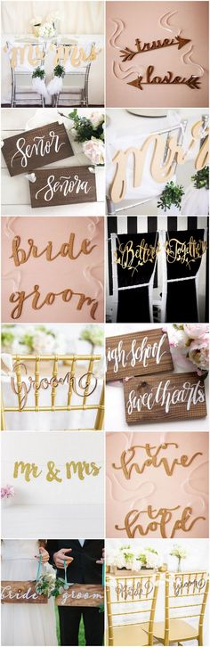 Check out the 21 Cutest + Most Creative Mr and Mrs Signs for your #wedding! These creative wedding chair signs make great Bride and Groom photo signs too! via @confettidaydreams