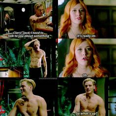 Clary has great timing. And his know-it-all smirk. You cheeky bastard, you knew she was gonna walk in.