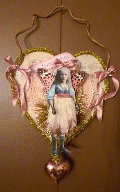 Valentine Fairy Altered Art Hanging Heart Collage by twojackmama