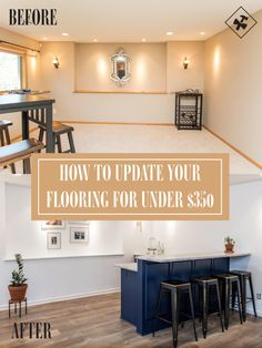 How to Finish Your Basement and Basement Remodeling Finishing your basement can almost double the square foot living space of your home. A finished basement can include new living space such as a r… Home Remodeling Diy, Basement Renovations, Basement Designs, Installing Laminate Flooring, Oak Flooring, Cheap Laminate Flooring, Tiled Floors, Flooring Ideas, Basement Apartment