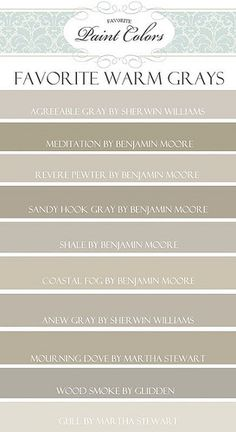 Pinterest fans like warm grays as much as I do, and this is a great guide. Via Favorite Paint Colors blog