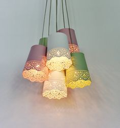 Pastel Lace Chandelier Lighting Fixture - Upcycled Hanging Lamp Featuring 6 Metal Garden Planter Shades - BootsNGus Modern Home Decor