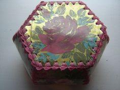 Vintage Plastic Roses Flowers Card Crochet Hexagon Box   eBay