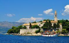 Photo about Photo of the church at Lopud Island sean from the harbor - Elaphiti Islands - Dubrovnik - Croatia - July 2010. Image of lighthouse, kolocep, kalamota - 113007059