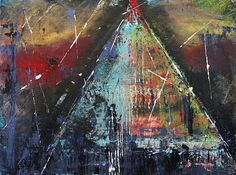 'Tent-ative' Fine Art Acrylic by Lucy Matta - Tent abstract paintings/  Sunset pyramid abstract. Cool colors and textures!
