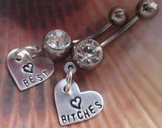 Best friend matching belly button rings