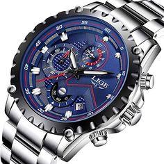 3f425734d1 Herren Uhren Fashion Sport Wasserdicht Analog Quarzuhr Chronograph LIGE  Luxusmarke #Herren Edelstahl Klassisch Blau #