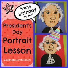 * President's Day Portraits: Mixed Media Art Lesson for Kids