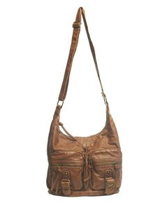 "Made in a super soft faux leather, this great-for-everything hobo bag has a slouchy design with double zippered pockets on the front, metal buckles and straps, and tassel/zip-pull details. The exterior features four zippered pockets and a strap that can be adjusted for wear as a crossbody or shoulder bag. When unzipped, the lined interior can be accessed, which includes a zippered pocket and two open pockets.  10.5"" Height x 12"" Width x 5"" Depth  ..."