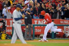 Los Angeles Angels Mike Trout Rounds Third After Hitting An HR Off Seattle Mariners Starting