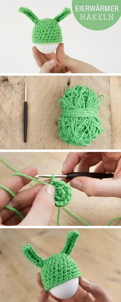 DIY-Anleitung: Eierwärmer Osterhase häkeln, Ostern / diy tutorial for easter: crochet easter bunny egg warmer via DaWanda.com