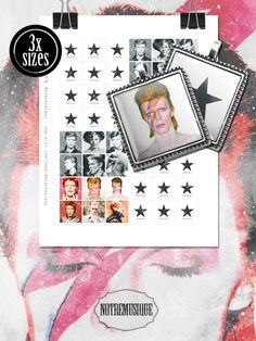 DAVID BOWIE Blackstar Digital Collage Sheet Square Glass Resin Pendants; 1x1 16x16mm & scrabble tiles .75x.83 inch; Printables; Stickers (3.89 USD) by Notremusique