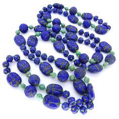 Vintage Czech Art Deco Neiger Blue Green Scarab Glass Bead Necklace | Clarice Jewellery | Vintage Costume Jewellery