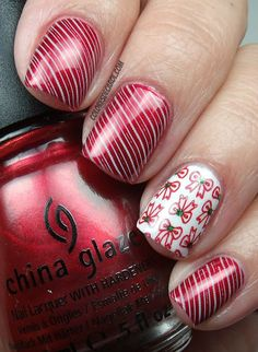 Colores de Carol: China Glaze Cranberry Splash + OPI My Boyfriend Scales Walls + Cheeky (lines) + Gals (bows). Get Nails, Love Nails, Pretty Nails, Hair And Nails, Xmas Nails, Dream Nails, Creative Nail Designs, Creative Nails, Nail Art Designs