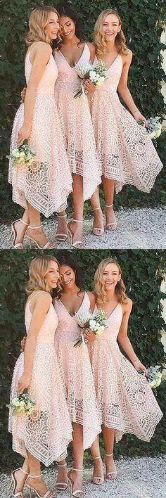 Prom Dresses Lace Pink Prom Dresses 2018 Prom Dresses A-Line Prom Dresses Beautiful Bridesmaid Dresses, Lace Bridesmaids, Short Bridesmaid Dresses, Bridesmade Dresses, V Neck Prom Dresses, Pink Prom Dresses, Homecoming Dresses, Dress Prom, Wedding Dresses