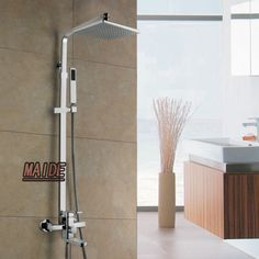 12 inch Bathroom Rainfall Wall Mounted With Handheld shower Head Faucet Set