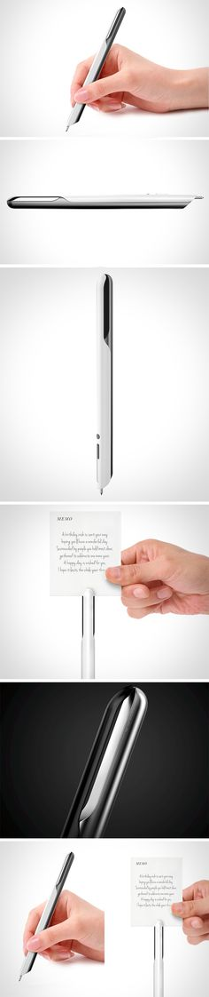The design of the CRAB enables a memo or note to be held in the top of the pen with the grip of two pinchers. Hiding a rubber overmold, the inside of the pinchers prevent the note from dislodging and getting lost amongst the rest of those ever important messages. The writing tip is hidden away for safekeeping until the user is to slide the discrete switch up the shaft of the pen.