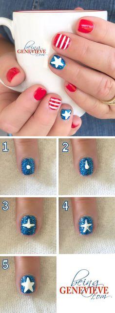 nice Stars and Stripes - Pepino Nail Art Design