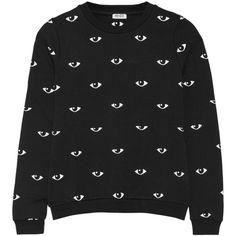 Eye-print cotton-fleece sweatshirt KENZO ❤ liked on Polyvore featuring tops, hoodies, sweatshirts, print sweatshirt, kenzo top, patterned sweatshirt, fleece tops and kenzo