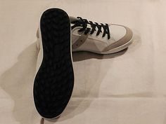 Lace Up Shoes, Genuine Leather, White/Grey, Casual