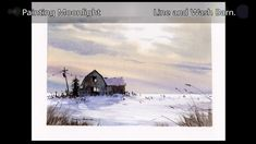 Painting moonlight winter shadows and dramatic skies. Line and wash watercolor. Watercolor Video, Pen And Watercolor, Watercolour Tutorials, Watercolor Landscape, Watercolor Paintings, Watercolours, Snow Scenes, Winter Scenes, Peter Sheeler