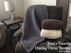 Free Crochet Pattern: Jenni's Favorite Chunky Throw Blanket using Bernat Blanket Yarn