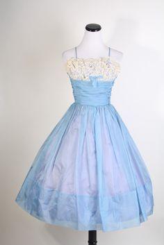 1950s Dress / Dress / Dresses / Lace Wedding Dress / Wedding Dress / Blue Dress / Vintage Lace / Bombshell / Pinup / Short Dres/ 0960. $165.00, via Etsy.