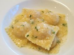 Salmon Ravioli with White Wine and Butter Sauce