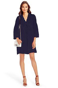 DVF Layla Chiffon Tunic Dress In Midnight