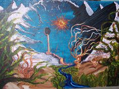 """""""(Welcome to) Grand Temporal Causality Loop National Park""""  24x36  Acrylic on canvas  2008"""