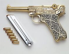 "gold Luger.. I have to remind myself; ""if you can't afford to shoot it, you can't afford to own it."""