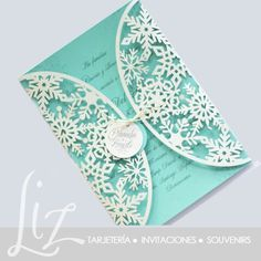 tarjetas de 15 años tematica invierno - Buscar con Google Tiffany Blue, Azul Tiffany, Quince Invitations, Wedding Invitations, Wedding Wishes, Wedding Gifts, Lace Wedding, Winter Wonderland Theme, Cinderella Party