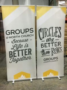 North Church uses our economy banner stands to advertise for their small groups! Church Signs, Church Banners, Church Welcome Center, Church Lobby, Kids Church, Church Ideas, Church Graphic Design, Retractable Banner, Banner Stands