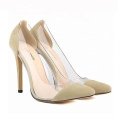 2017 Spring Autumn Sexy Pointed Women Pumps High-heeled Women Shoes Beige Black White High Heels Wedding Shoes Plus Size 42 XP35
