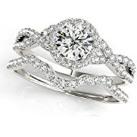 0.50 Carat Halo Daimond Engagement Bridal Ring Set 14K Solid White Gold