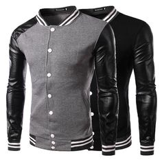 New Men's Stylish Slim Fit PU Leather College Baseball Jackets Coat Tops Outwear #Unbranded #Motorcycle