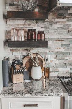 Our Rustic meets Modern Kitchen - Home Tour Series Farmhouse Sink Kitchen, Modern Farmhouse Kitchens, New Kitchen, Home Kitchens, Kitchen Sink, Rustic Backsplash Kitchen, Airstone Backsplash, Farmhouse Decor, Kitchen Ideas