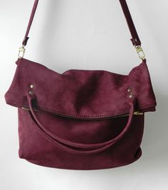 Purple nubuck leather fold over hobo bag. $125.00, via Etsy. www.locknkeyleathers.etsy.com