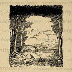 Digital Graphic Rabbits in the Forest Antique Download Easter Spring Image Bunny Printable Vintage Clip Art Jpg Png Print 300dpi No.1302 @ vintageretroantique.com #DigitalArt #Printable #Art #VintageRetroAntique #Digital #Clipart #Download