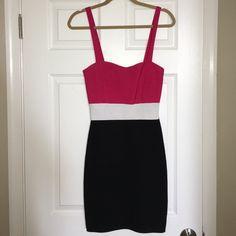 BEBE Bodycon dress! Pink, white, and black Bebe Bodycon dress! bebe Dresses Mini