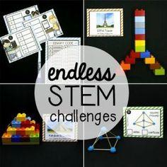 Endless STEM (Science, Technology, Engineering and Math) Challenge Bundle - Playdough To Plato Stem Science, Science For Kids, Math Stem, Lego Challenge, Challenge Cards, Stem Activities, Activities For Kids, Number Activities, Playdough To Plato