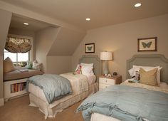 shared girls room great neutral color love the reading area def a doable space in a long island cape cod home <3 gaaby can grow into this =)
