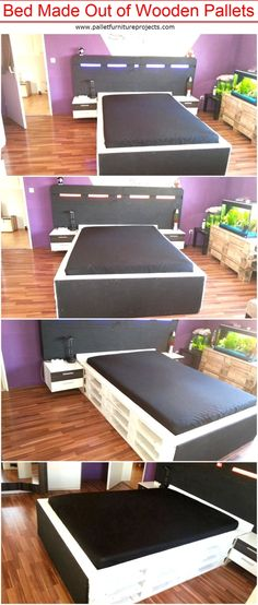 Bed Made Out of Wooden Pallets   Pallet Furniture Projects. by palletfurnitureprojects