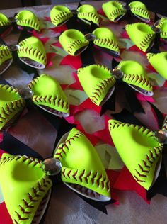 15+Softball+Hair+Bows++group+discount+by+3CraftinSisters+on+Etsy,+$135.00